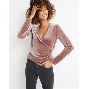 Madewell Velvet Wrap Long Sleeve Top Size XS